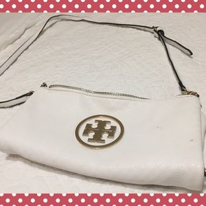 White Tory Burch leather clutch
